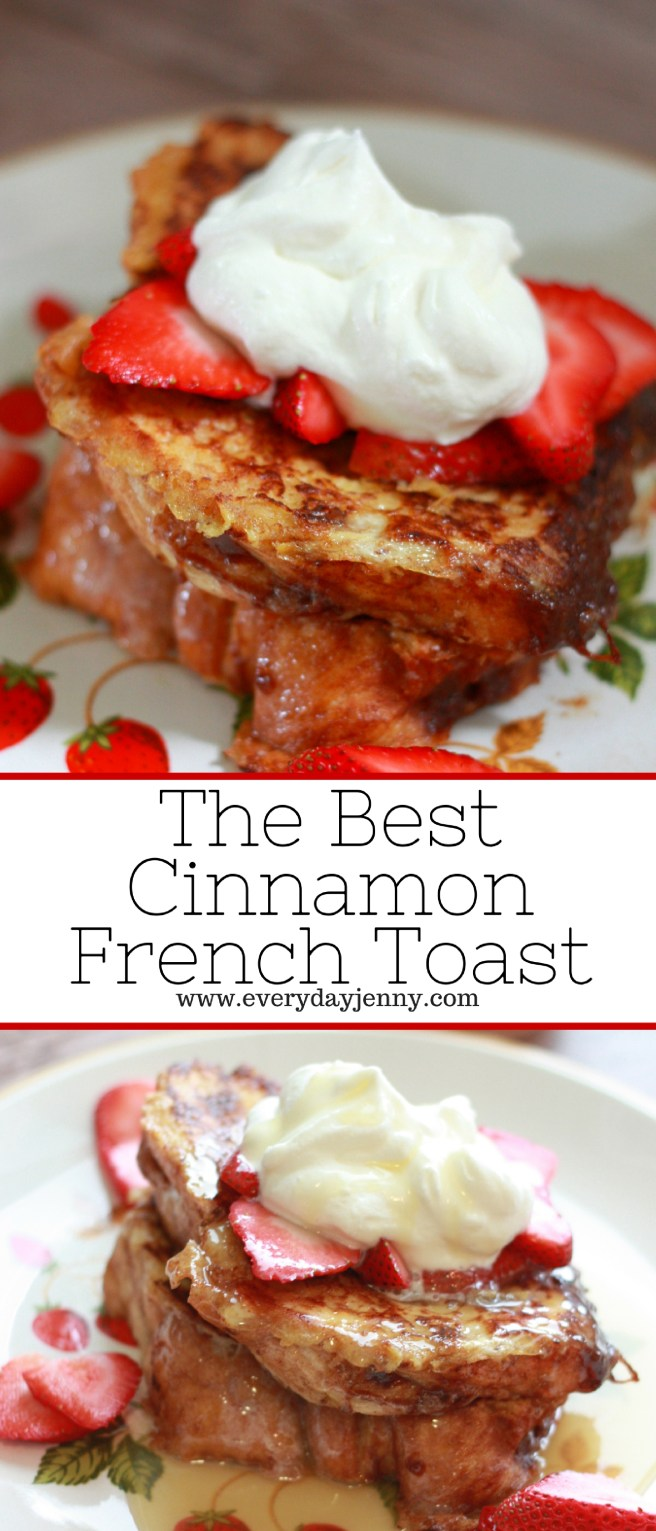 The best cinnamon french toast made using Kneader's chunky cinnamon bread. Recipe at everydayjenny.com
