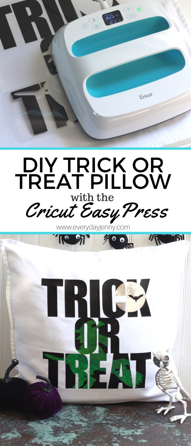 Learn all about the Cricut EasyPress and see how to use it for this DIY Halloween Trick or Treat Pillow. #Cricut #CricutEasyPress