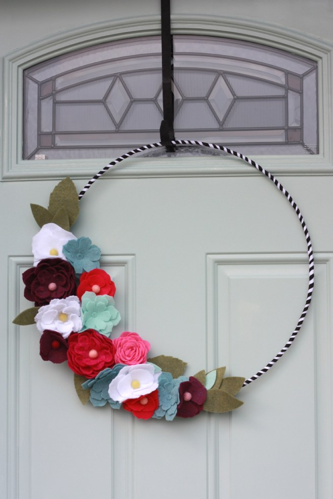 Felt Flower Wreath made with Cricut Maker
