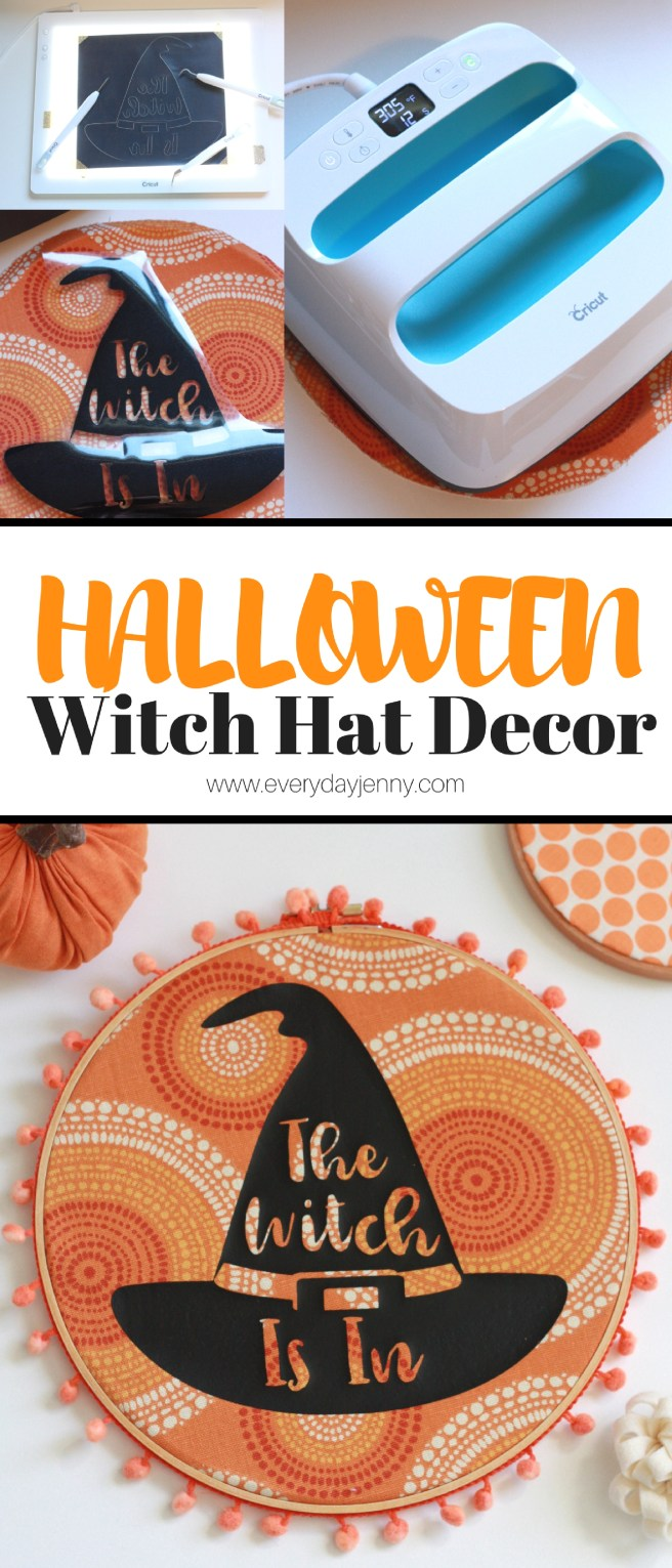 Use your Cricut to make this cute DIY Halloween witch hat decor. The Cricut EasyPress makes using iron-on so easy. Tutorial at everydayjenny.com #Cricut #CricutMaker #CricutEasyPress