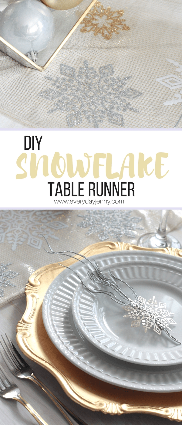 This glittery DIY snowflake table runner is so easy to make with your Cricut. #CricutMade #CricutHoliday #CricutMaker