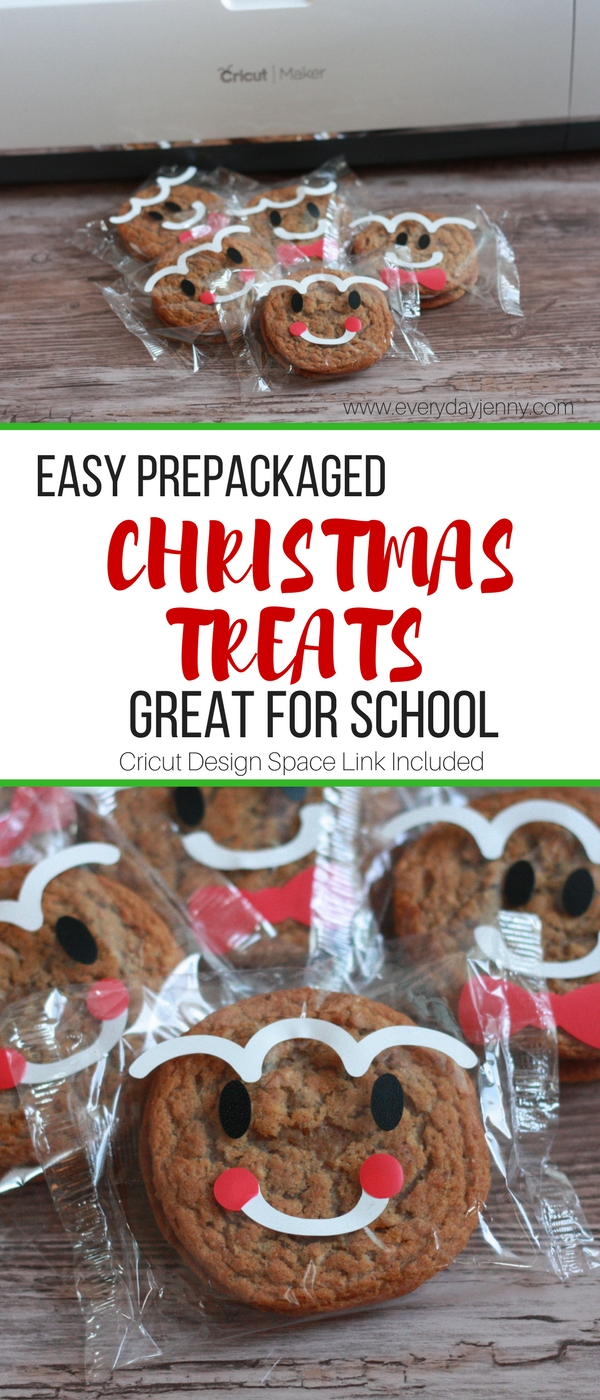 These cute and easy Christmas gingerbread men faces are made with oatmeal cream pies and your Cricut. Great for schools where only prepackaged treats are allowed. #Cricut #CricutMade