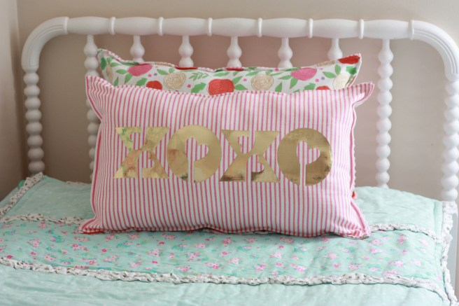 Pillow with Cricut Foil Iron-on Final Horizontal