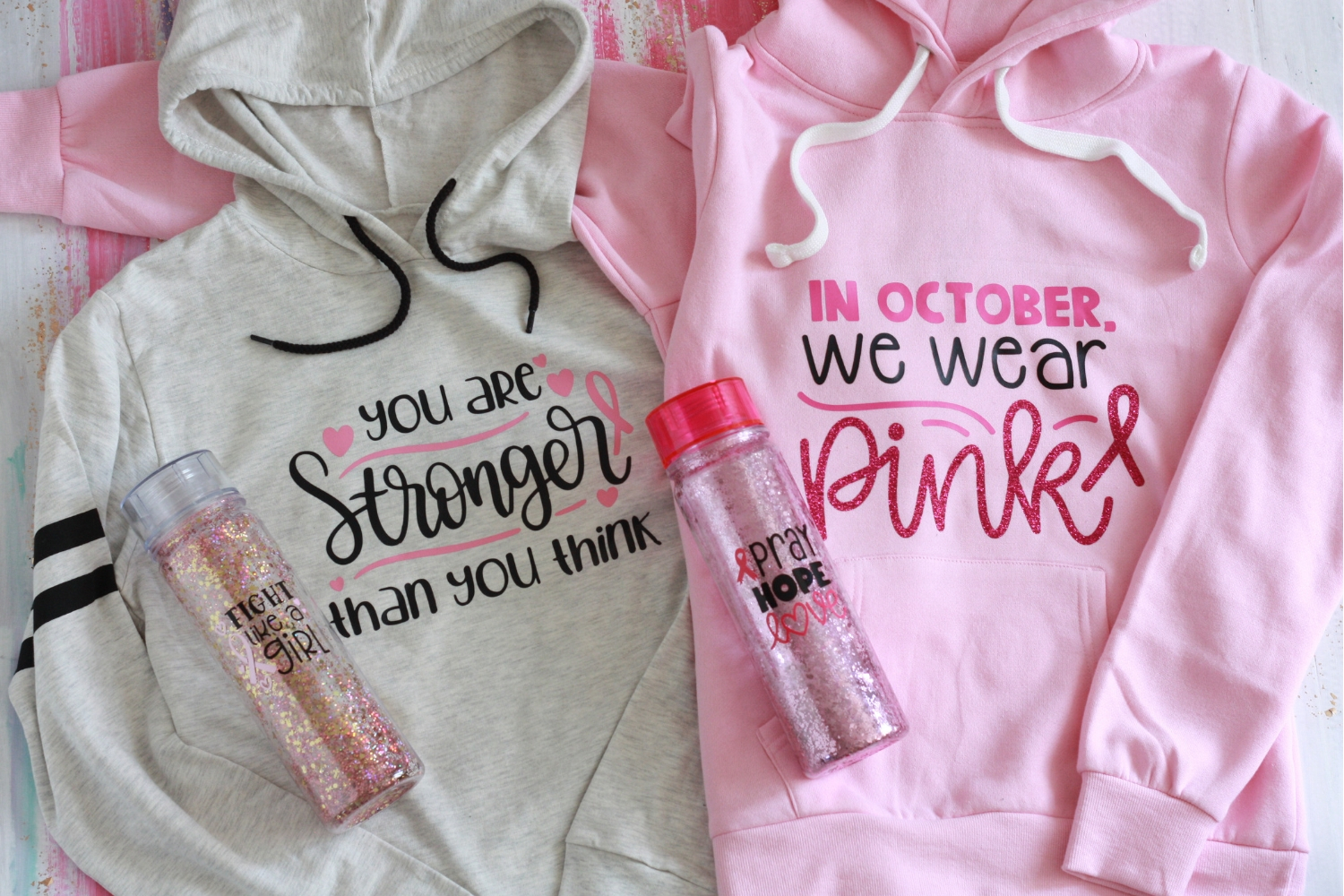 Final Cricut Breast Cancer awareness shirts and water bottles. Fight cancer  like a girl and 03fa362b7334