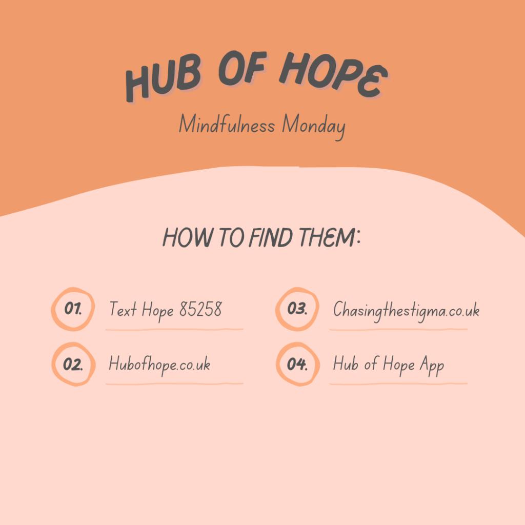 Half orange, half pink background. Writing says hub of hope, mindfulness Monday. 1. Text Hope 85258, 2.Hubofhope.co.uk 3. Chasingthestigma.co.uk 4. Hub of Hope App