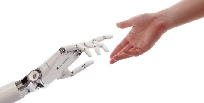 robot hand, human hand