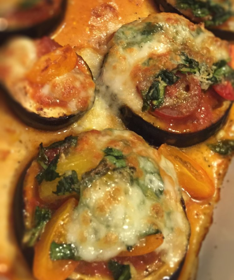 Eggplant Spinach Pizza