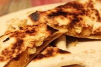 Chicken Quesadillas with a Spicy Jalapeno Sauce