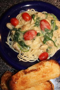 Chicken Spaghetti with Creamy Garlic Sauce