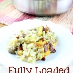 Fully Loaded Hash Brown Casserole is loaded with bacon, sausage, cheese, and delicious shredded potatoes! It's perfect for breakfast, brunch, dinner, or anytime of the day.   EverydayMadeFresh.com
