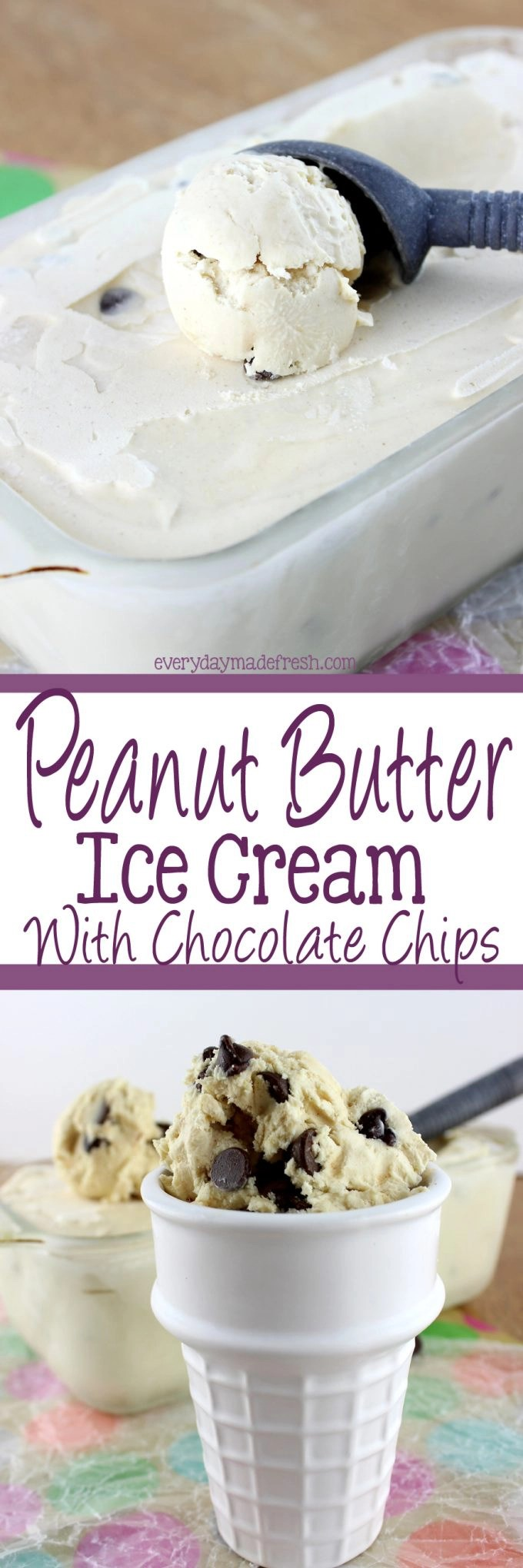 Chocolate and peanut butter come together in this Peanut Butter Ice Cream with Chocolate Chips and become a match made in Heaven. | EverydayMadeFresh.com