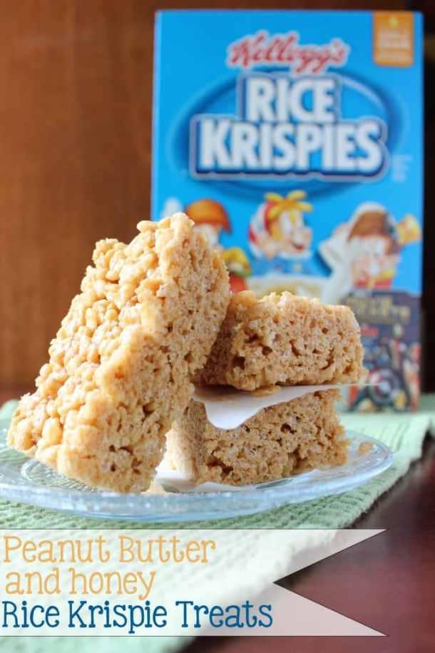 Peanut Butter and Honey Rice Krispie Treats | EverydayMadeFresh.com