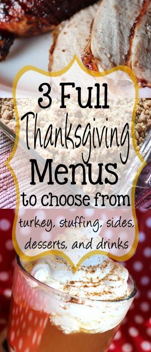 3 Full Thanksgiving Menues