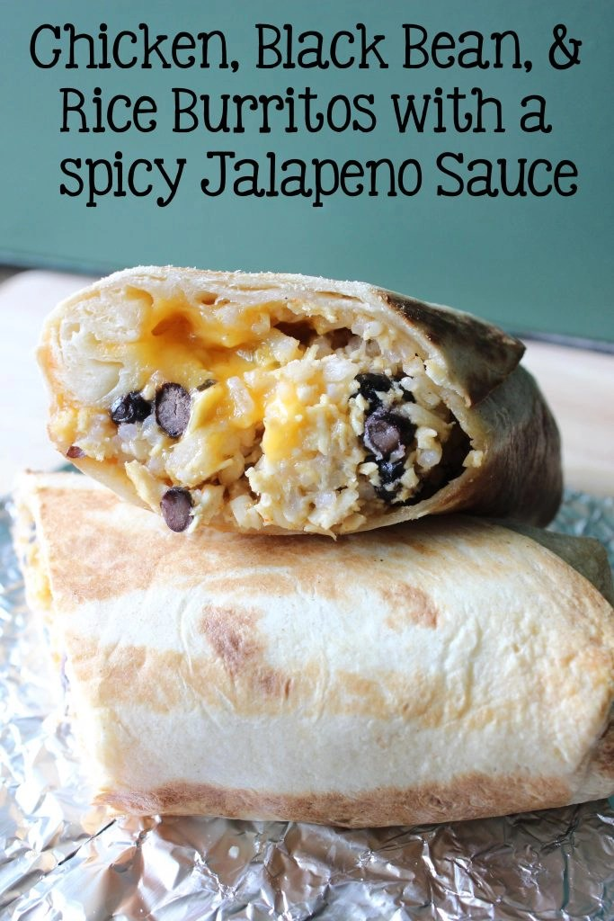Chicken Black Bean and Rice Burritos with a spicy jalapeno sauce