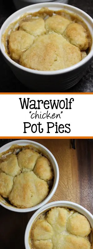 """Halloween is right around the corner, so why not celebrate with this fun twist, Warewolf """"chicken"""" Pot Pies! The pot pies are topped with homemade biscuits, that are two different sizes to give the allusion of a paw print! The kids will love these! 