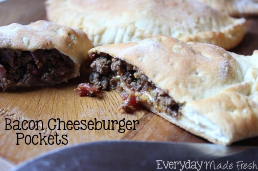 Canned Biscuits make these Bacon Cheeseburger Pockets fast, simple, and guaranteed to be loved by everybody! | EverydayMadeFresh.com
