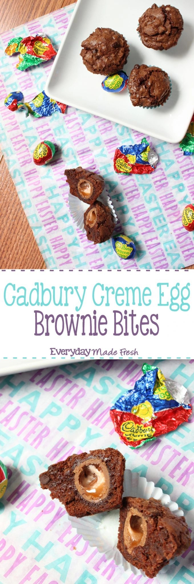 These Cadbury Creme Egg Brownie Bites are the perfect morsel of Easter tastiness! If you love Cadbury Creme Eggs, these can not go un-made! | EverydayMadeFresh.com