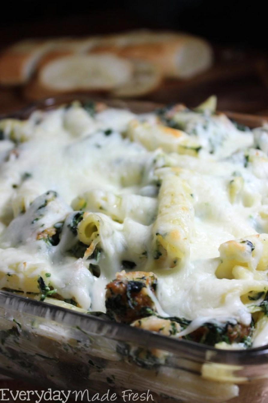 Spinach Dip is a party favorite! Now you can enjoy it for dinner in this yummy Spinach Dip Chicken Pasta Bake! | EverydayMadeFresh.com