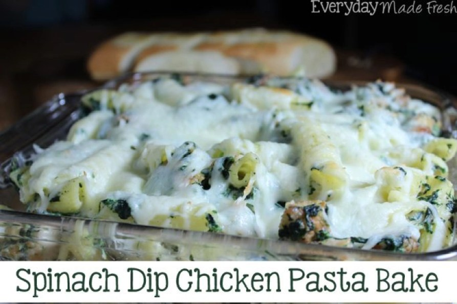 Spinach Dip is a party favorite! Now you can enjoy it for dinner in this yummy Spinach Dip Chicken Pasta Bake!