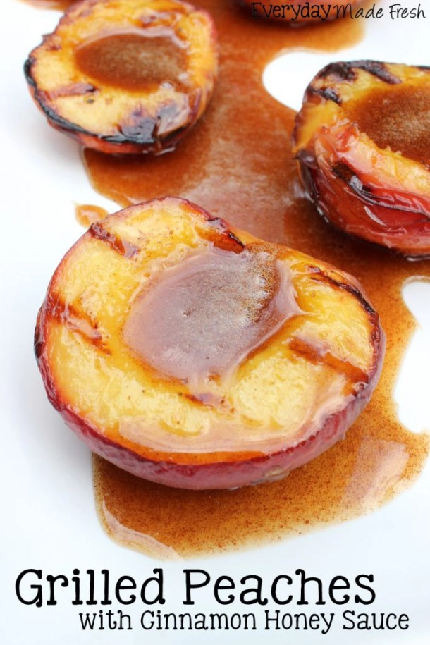These Grilled Peaches with Cinnamon Honey Sauce is a wonderful dessert option when you're grilling this summer! | EverydayMadeFresh.com