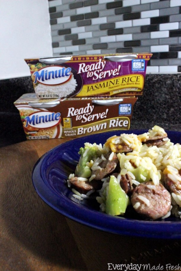 AD This One Pan Sausage Rice and Broccoli is a breeze to make and clean-up is no problem at all! #MixInMinute | EverydayMadeFresh.com