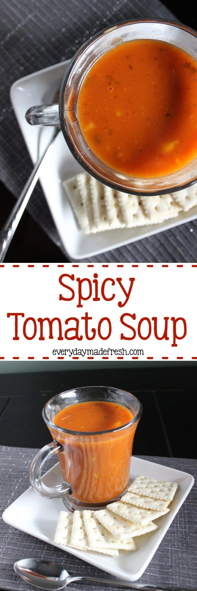 This Spicy Tomato Soup is a quick soup that will be ready in no time, and loved by the whole family! | EverydayMadeFresh.com