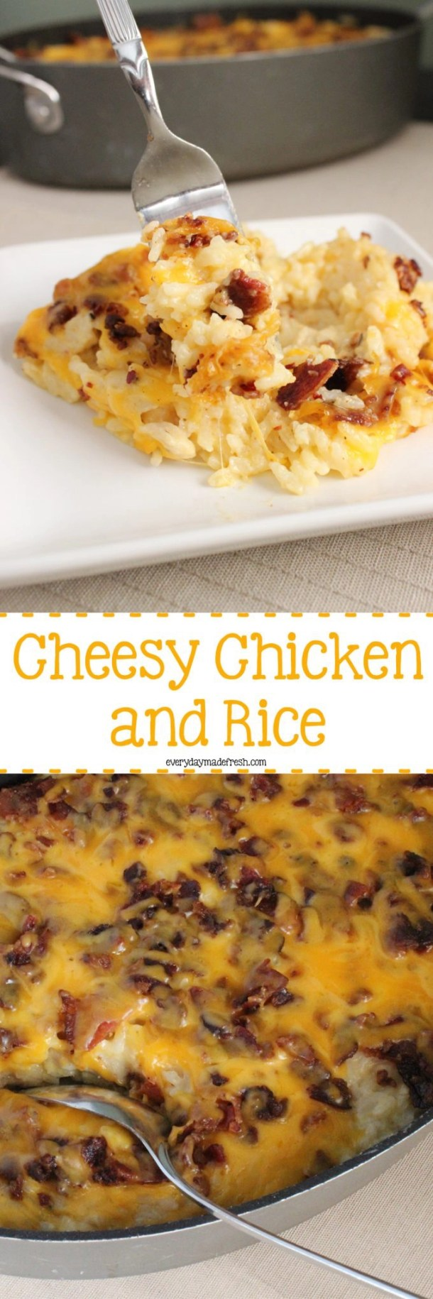 Crispy bacon, a cheesy sauce, chunks of chicken - this Cheesy Chicken and Rice is the ultimate in comfort food! | EverydayMadeFresh.com
