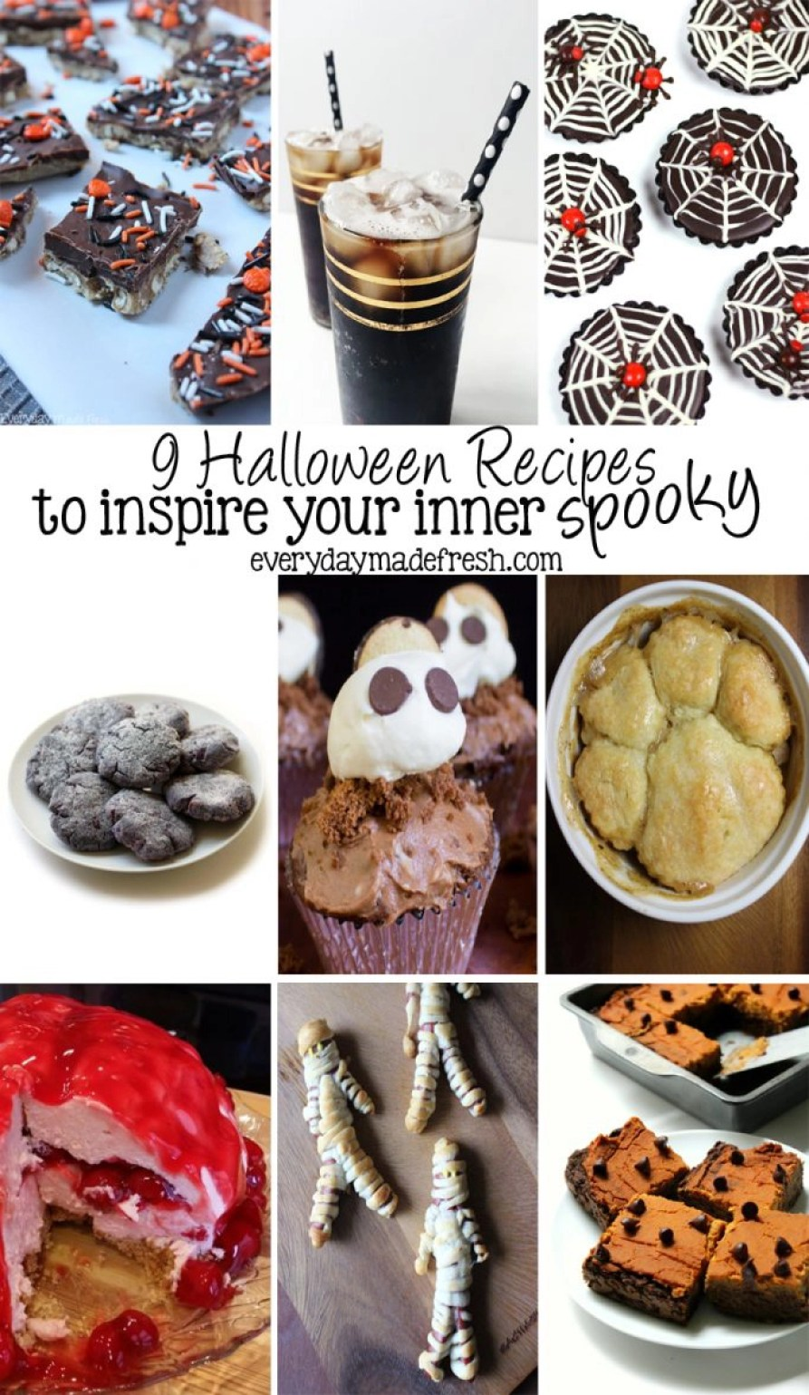 These 9 Halloween Recipes to Inspire Your Inner Spooky are fun and creative! Perfect to serve at your next Halloween party or to enjoy just because. | EverydayMadeFresh.com