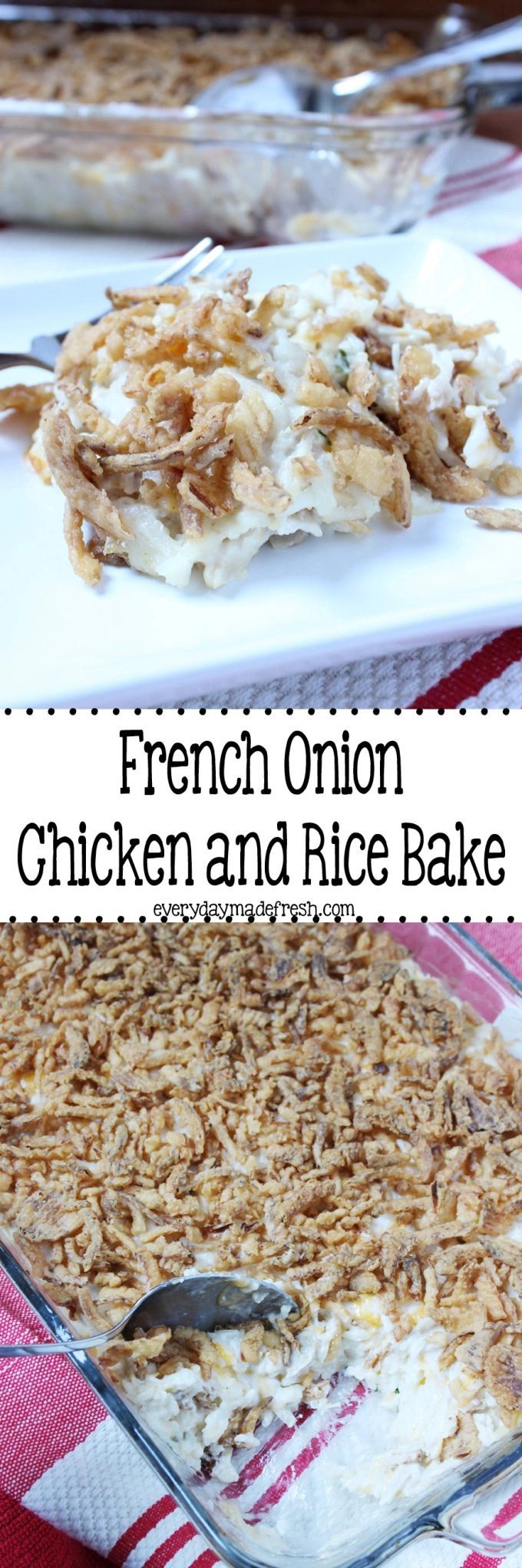 French Onion Chicken and Rice Bake is made with simple shortcuts to have dinner on the table in no time. #ad #BensBeginners #UncleBensPromo | EverydayMadeFresh.com