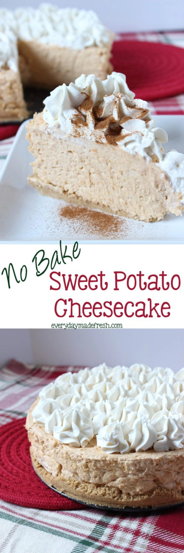 No Bake Sweet Potato Cheesecake - This Cheesecake is so easy, creamy, and decadent! You'd never know it was a no bake cheesecake. #BigLotsHoliday #ad | EverydayMadeFresh.com