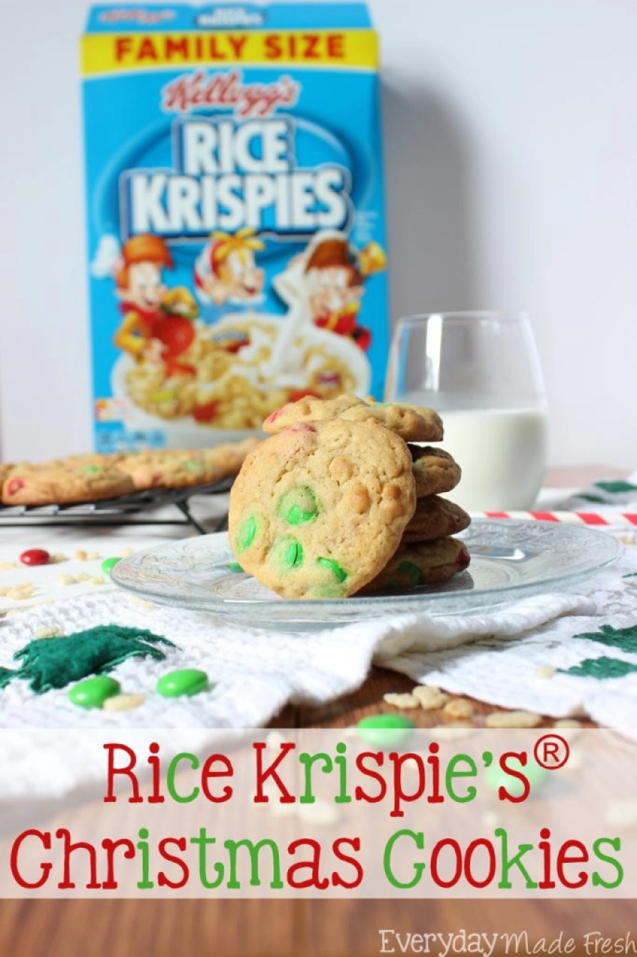 These Rice Krispies® Christmas Cookies have the perfect texture - soft, chewy, and crispy! With a hint of vanilla and candy coated chocolate candies, these make for a simple treat during the holidays. #HolidayTreatMaking #ad | EverydayMadeFresh.com