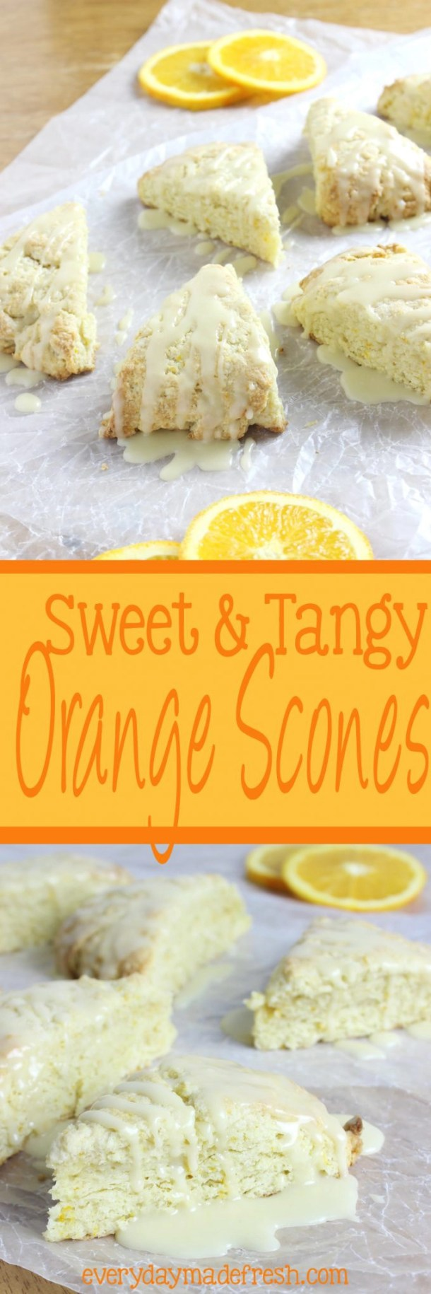 These Sweet & Tangy Orange Scones are studded with zest and bursting with fresh orange flavor! | EverydayMadeFresh.com