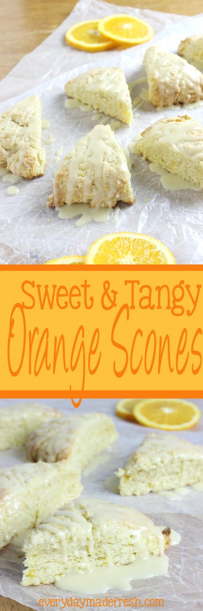 These Sweet & Tangy Orange Scones are studded with zest and bursting with fresh orange flavor!   EverydayMadeFresh.com
