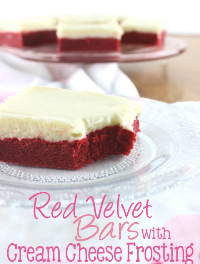 These Red Velvet Bars with Cream Cheese Frosting have the perfect chewy texture with a cream cheese frosting that will melt in your mouth! | EverydayMadeFresh.com