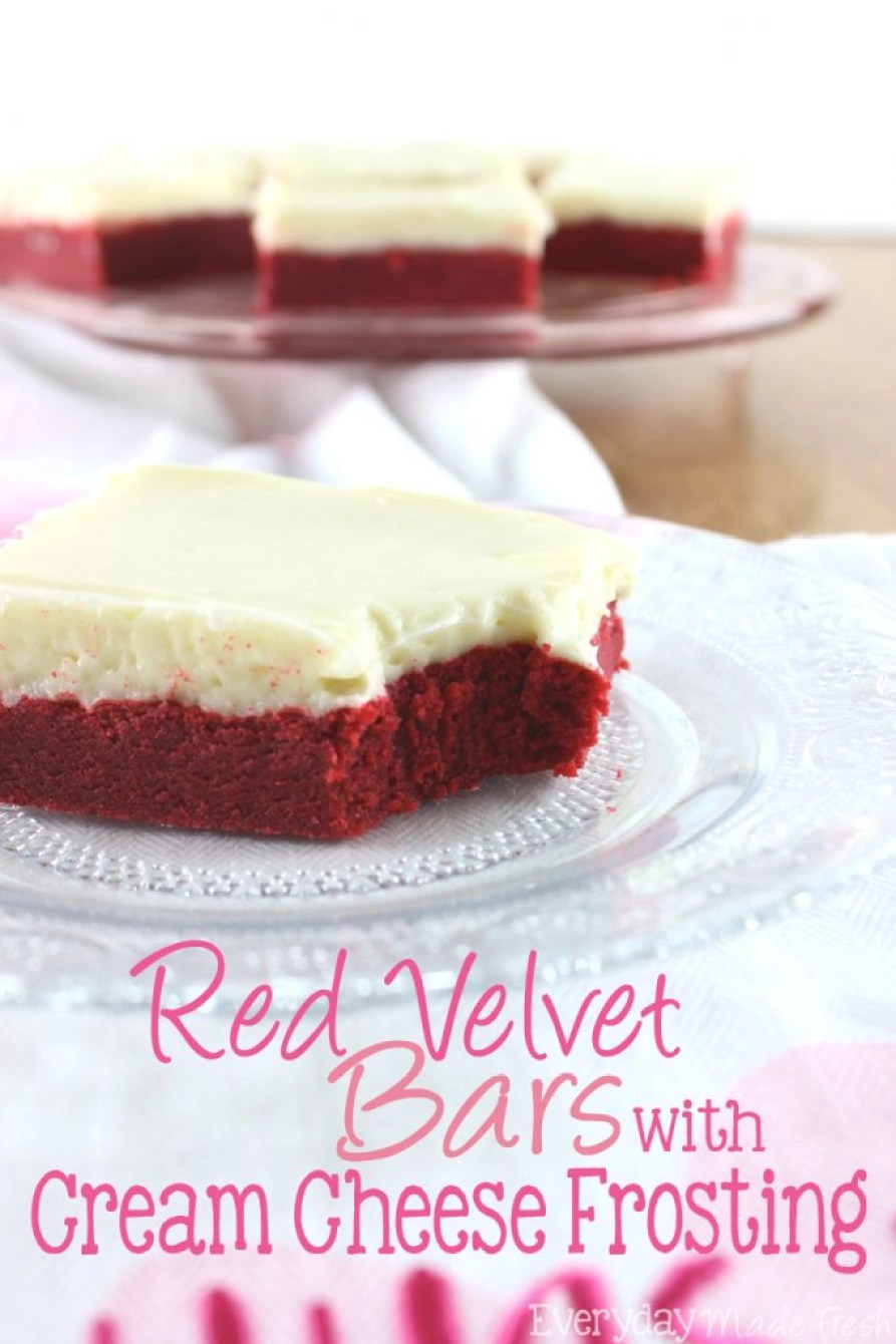 These Red Velvet Bars with Cream Cheese Frosting have the perfect chewy texture with a cream cheese frosting that will melt in your mouth!   EverydayMadeFresh.com
