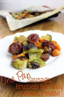 One Pan Sausage, Brussels Sprouts, & Sweet Potato