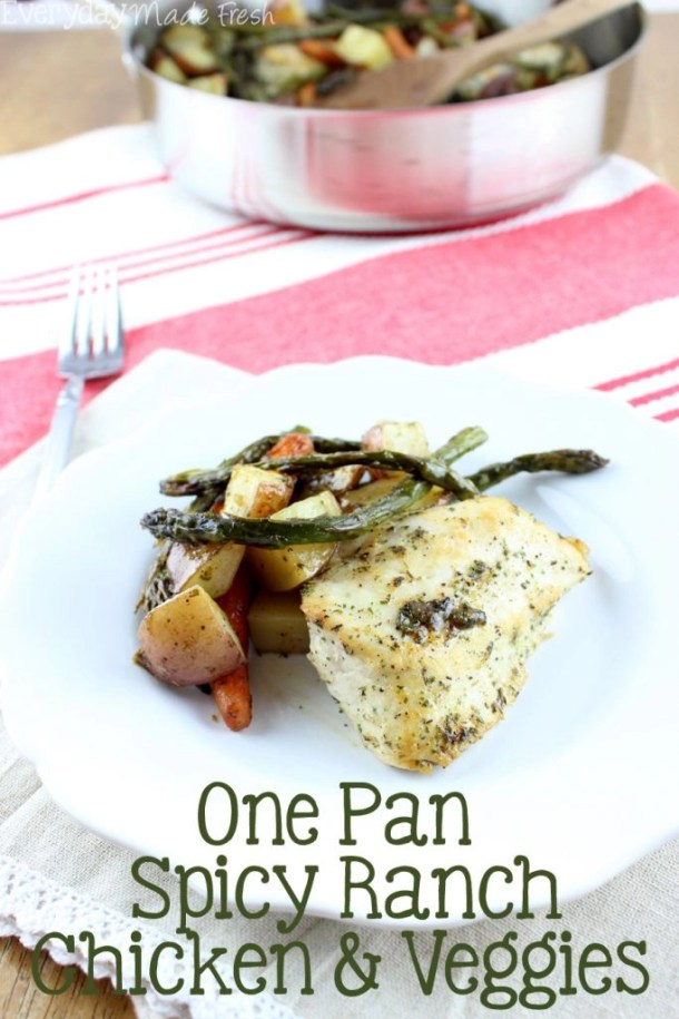 In a perfect world there are no dishes to clean up after dinner. Unfortunately, we don't live in a perfect world; which is why this One Pan Spicy Ranch Chicken & Veggies is perfect! Less to clean up! | EverydayMadeFresh.com