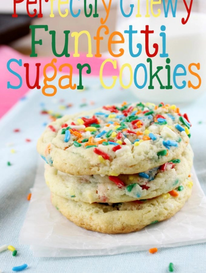 Perfectly Chewy Funfetti Sugar Cookies are perfect in texture and flavor. Hints of vanilla with the crunch of sprinkles make these cookies a favorite for everyone! | EverydayMadeFresh.com