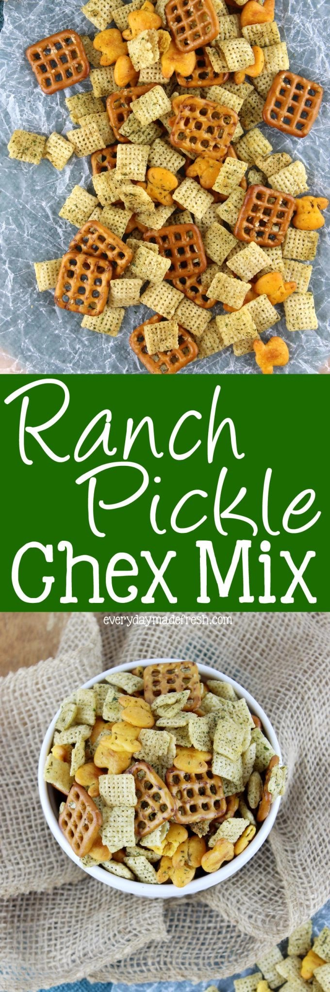 Alright pickle lovers, this Ranch Pickle Chex Mix is for you! Tangy, garlicky, and made in 5 minutes, in the microwave! | EverydayMadeFresh.com