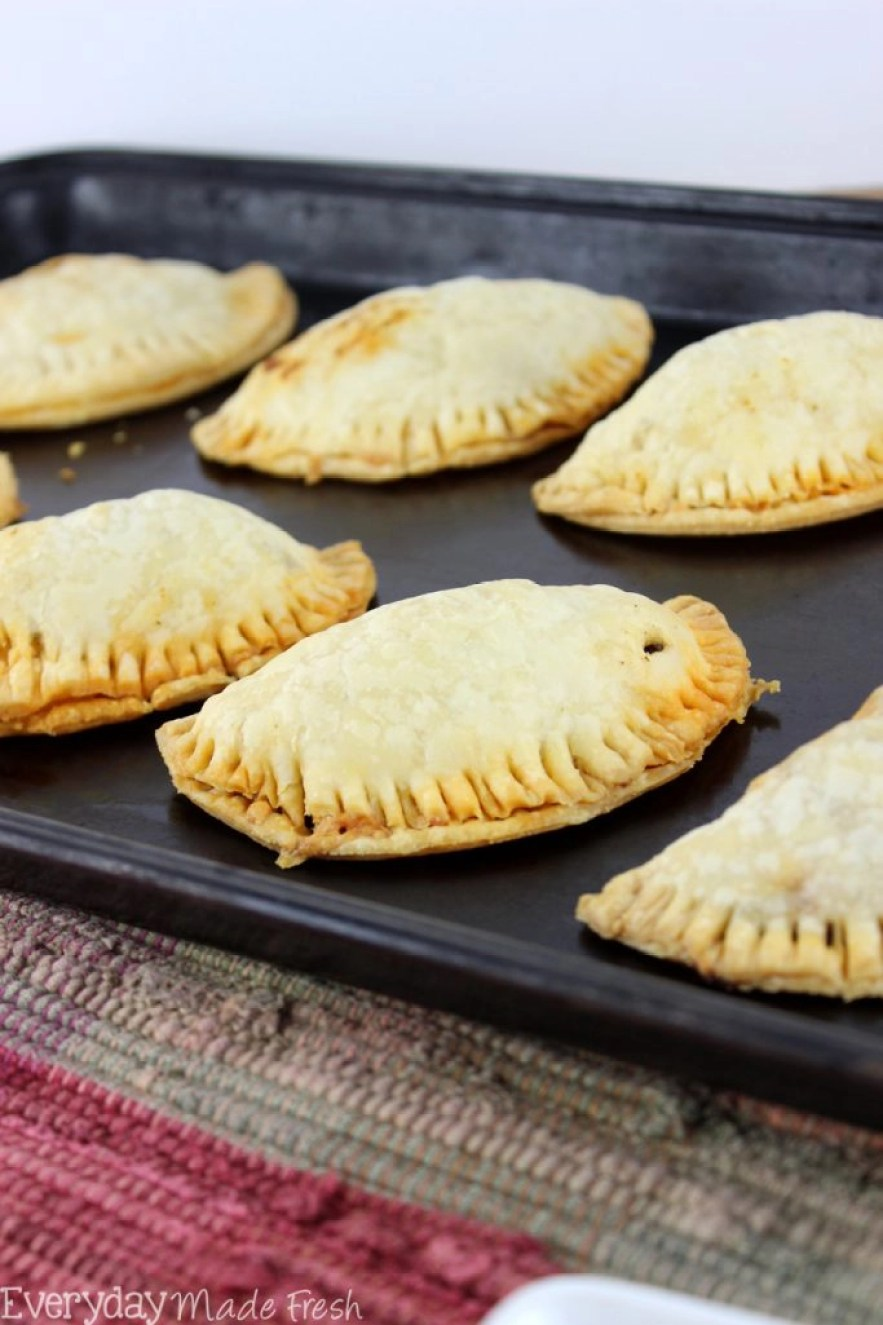 hese savory hand pies are the perfect portable snack, lunch, or dinner. Store bought pie dough make these Taco Hand Pies easy!   EverydayMadeFresh.com