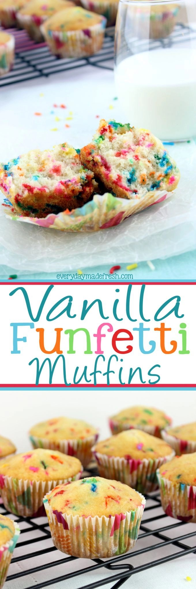 Start your morning with sprinkles! These Vanilla Funfetti Muffins are the funnest grab-and-go breakfast, and kids are gonna love them!   EverydayMadeFresh.com