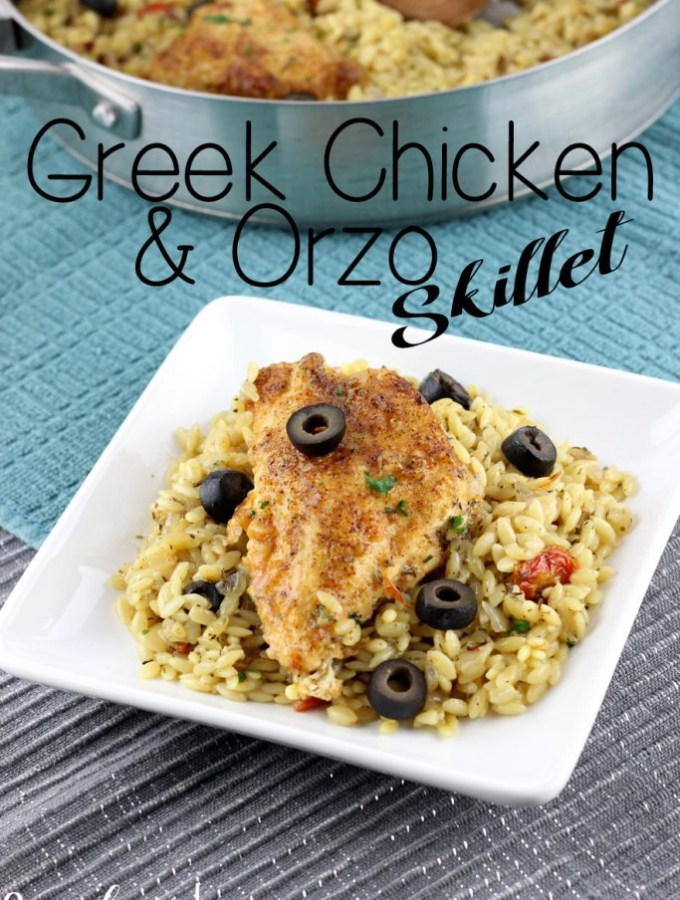 Weeknight meals just got a whole lot easier with the Greek Chicken & Orzo Skillet! Loaded with flavors and ready in less than 20 minutes. | EverydayMadeFresh.com