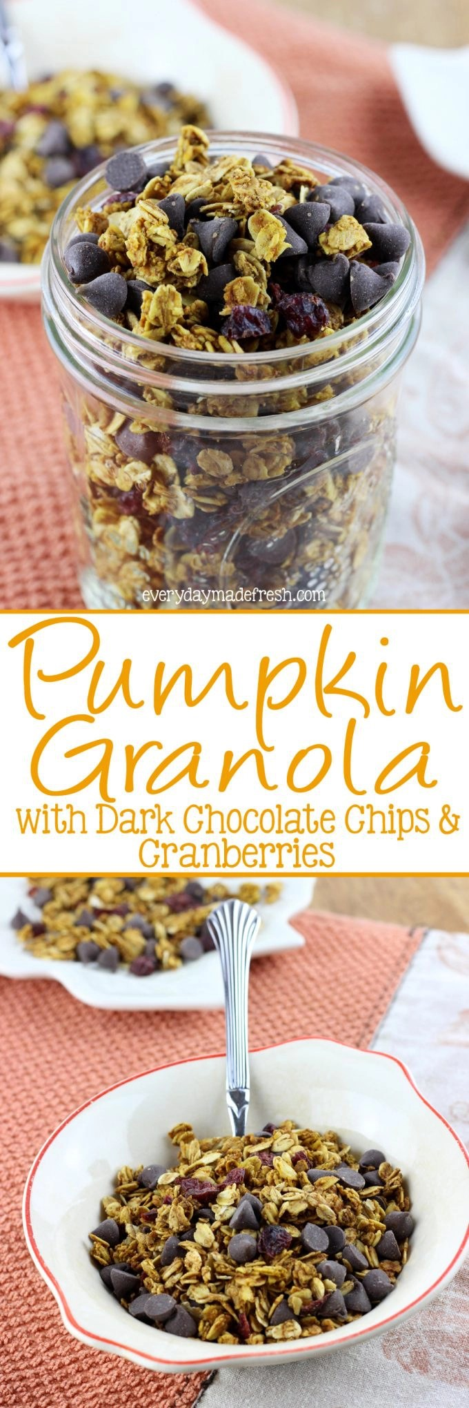 Granola has never tasted more like fall! This Pumpkin Granola with Dark Chocolate Chips & Cranberries is spiced with all the right spices and sweetened with maple syrup.| EverydayMadeFresh.com