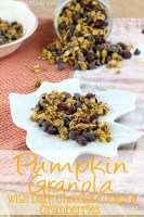 Pumpkin Granola with Dark Chocolate Chips & Cranberries