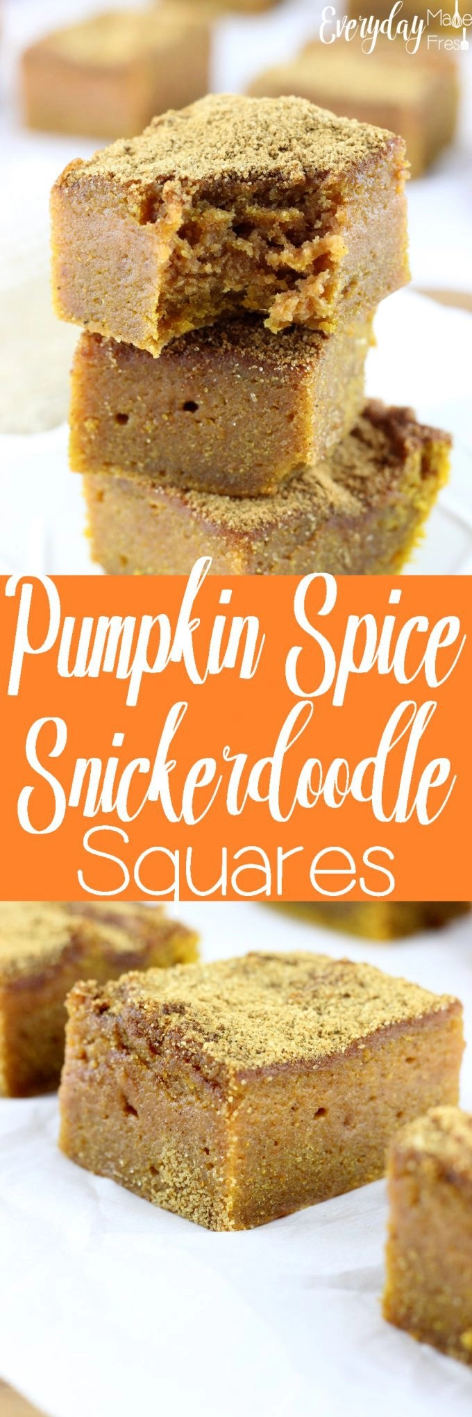 Soft and super moist, full of pumpkin spice flavor, and perfectly topped with a mixture of cinnamon and sugar goodness; these Pumpkin Spice Snickerdoodle Squares are pretty much perfection in a pan. | EverydayMadeFresh.com