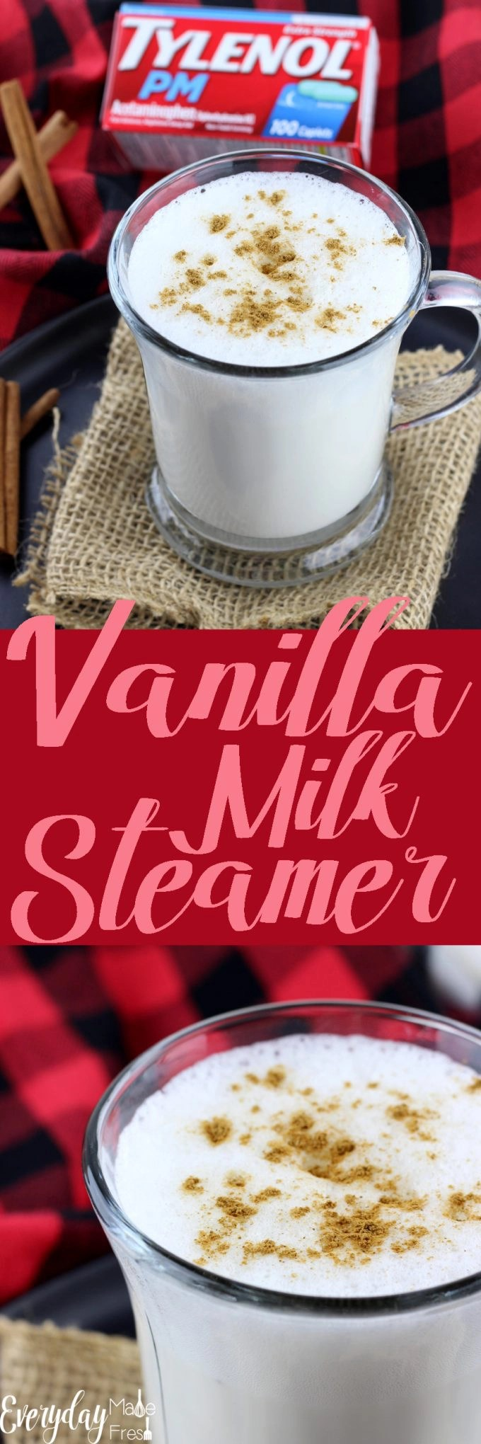 # ad A Vanilla Milk Steamer is the perfect little drink to enjoy before bedtime. A dash of sugar, a splash of vanilla, and a sprinkle of cinnamon make this simple and tasty. Learn more about TYLENOL® PM at Walgreens on the blog! #ForBetterTomorrows #BetterTomorrows #FallBack | EverydayMadeFresh.com