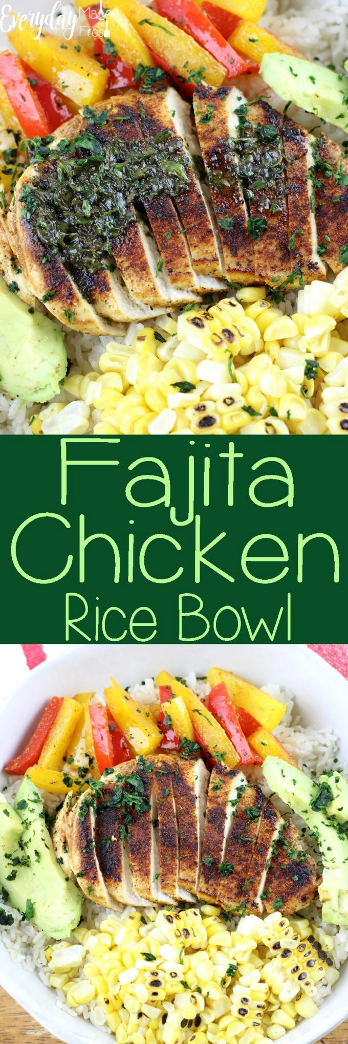 All the flavors of fajitas in this simple and tasty Fajita Chicken Rice Bowl! Perfect for lunches or a fast and healthy dinner.   EverydayMadeFresh.com