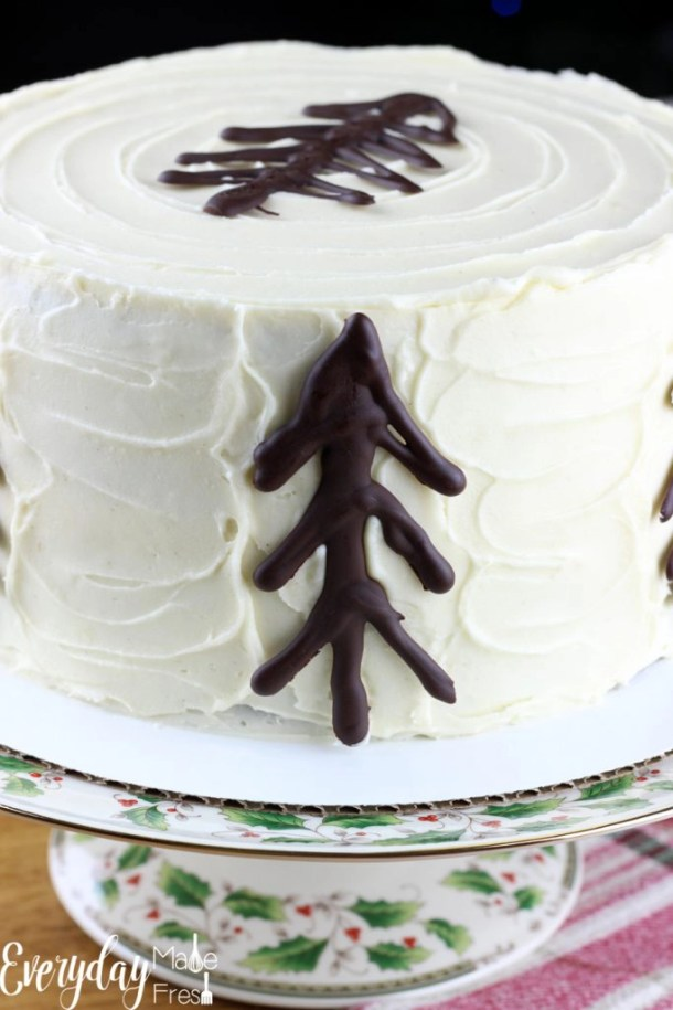 The dessert that should be on your holiday table this year is this Gingerbread Cake with Maple Cream Cheese Frosting. With flavors of ginger, cinnamon, maple, and cream cheese this cake has Christmas written all over it. It's the dessert your guests will be talking about next year! | EverydayMadeFresh.com