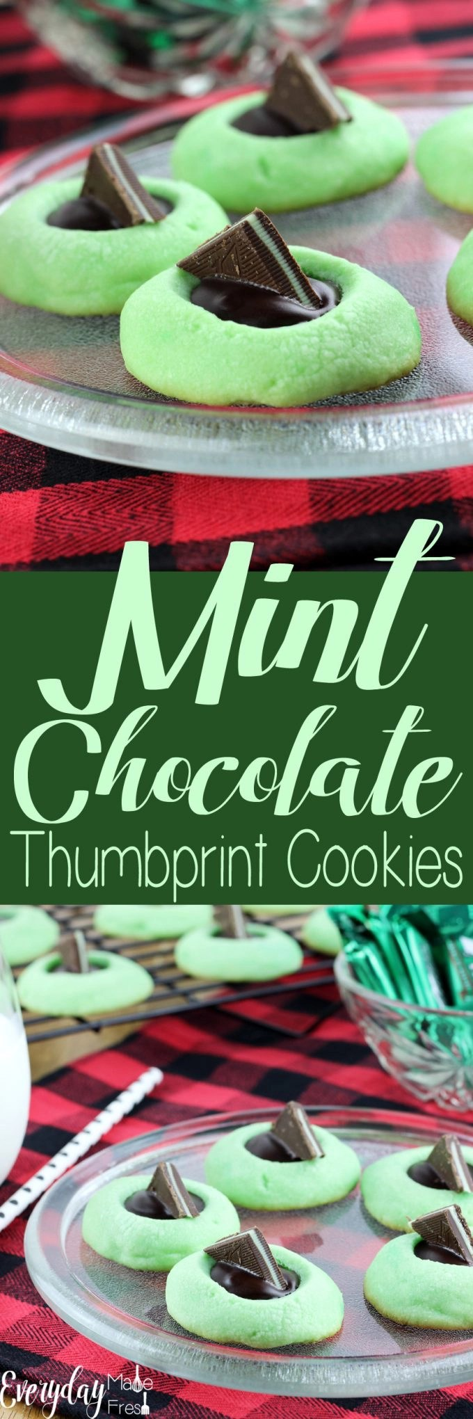Mint and Chocolate are the perfect pair when it comes to holiday duos. These Mint Chocolate Thumbprint Cookies are tender, buttery, minty, and have a dark chocolate punch!   EverydayMadeFresh.com