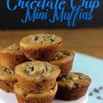 These Peanut Butter Chocolate Chip Mini Muffins are sweetened with honey, gluten free, and dairy free! They are made in a blender for a easy clean-up, and bake in less than 10 minutes. | EverydayMadeFresh.com